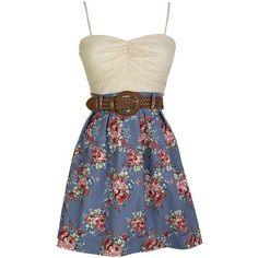 Raspberry Iced Tea Dress ❤ liked on Polyvore featuring dresses, vestidos, robes, blue, floral print dress, tea dress, flower print dress, blue cut out dress and cut out dress