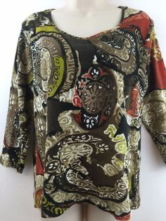Chicos 2 Top Brown Colorful Print Cotton Knit 3/4 Sleeve Scoop Blouse 12 14 M L #Chicos #KnitTop #Casual