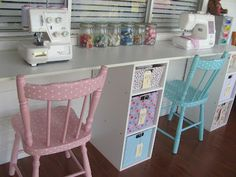 """Sewing Room w/ Fabric-Covered Storage Boxes, Jars, & Lots more Storage Ideas. From """"Five Brothers One Sister."""""""