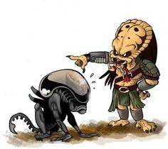 Alien Vs Predator, Predator Cosplay, Predator Alien, Les Aliens, Aliens Funny, Aliens Movie, Arte Alien, Alien Art, Horror Cartoon