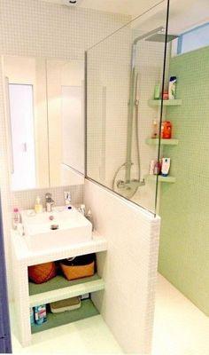 Idée décoration Salle de bain  Petite salle de bain avec optimisation espace
