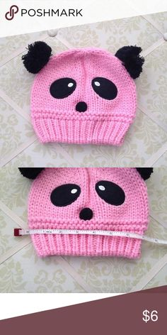 Pretty Panda Pom Pom Hat Pretty pink hue and Pom poms come together on this sweet panda hat Accessories Hats