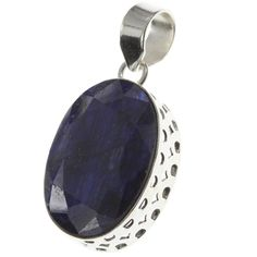 """925 Sterling Silver Created SAPPHIRE Pendant, 2 2/4"""". BeadsTreasury Product Description BeadsTreasury provides our customer with high quality handcrafted jewerly in affordable price. Most of our jewelry are handcrafted, thus every pieces of jewelry is UNIQUE. This 26MM Created SAPPHIRE gemstone is crafted in 925 Sterling Silver Pendant. Its weight is 7.70g. What is 925 Sterling Silver? 925 Sterling Silver jewelry is composed with 92.5 percent silver and 7.5 percent copper. It is found to…"""
