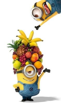 Minions frutales, despicable me, funny, yellow