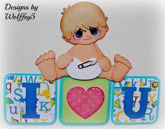 ELITE4U BOY BABY paper piecing premade scrapbook page album border  WOLFFEY5