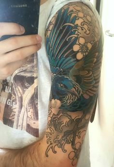 WIPTui Bird half sleeve tattoo from Dean at Sacred TATTOO, Kingsland NZ
