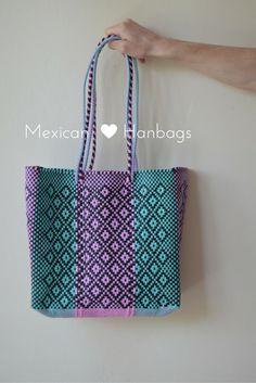 Mexican bags, woven handbags, plastic bags, purple handbags, green and purple handbags