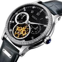 3950affbedc Marca de luxo Suíça NESUN Diamante Esqueleto Homens Relógio Automático  Auto-Vento dos homens Relógios 100 M À Prova D  Água relógio N9093-7 -