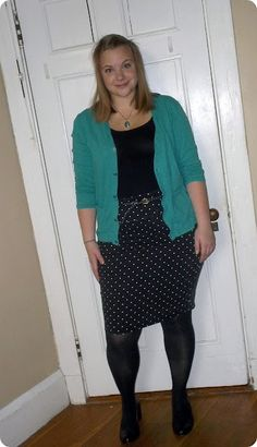 My friend Tashia doing one of her OOTD posts from her blog, 'Hips & Hangers'. Love the bright blue cardigan mixed with polka dots!
