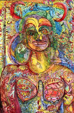 1990 Presidente. 97 x 64cm. Aquarelle papier soie. Neuve Invention Musée 'art Brut Lausanne.jpg 328×504 pixels