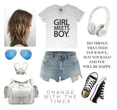 """street style // late summer"" by xlisaabx ❤ liked on Polyvore featuring Denim & Supply by Ralph Lauren, Ray-Ban, Converse, Beats by Dr. Dre, GetTheLook, outfit and girl"
