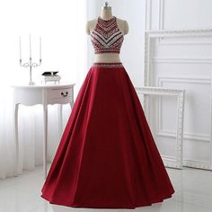 A-line Two Piece Prom Dresses,Burgundy Satin Halter Long Formal Dresses,apd1810