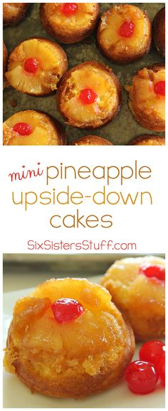 Mini Pineapple Upside-Down Cakes from SixSistersStuff.com