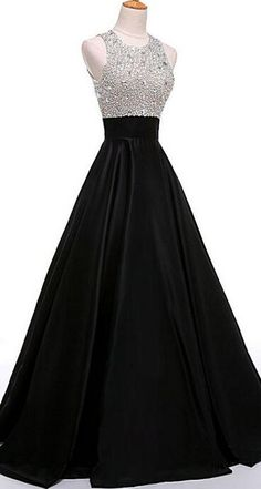 Hih Low Prom Dresses,Ball Gowns Prom Dresses, O-neckline Black Beading A-line Prom Dresses,Cheap Prom Dress,Prom Dresses For Teens,Satin Evening Dresses