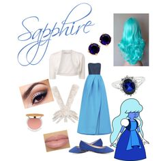 Sapphire from Steven Universe by zamantha-palazuelos on Polyvore featuring polyvore, fashion, style, Monique Lhuillier, Lela Rose, Charlotte Russe, Jewel Exclusive, Kate Spade, Lancôme and Isaac Mizrahi