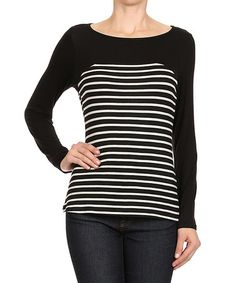 Another great find on #zulily! Black & White Stripe-Contrast Top #zulilyfinds