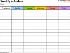 Weekly schedule template for Word version 1: landscape, 1 page, Monday to Friday…