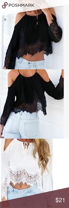 COLD SHOULDER LACE CROP TOP Very cute crop top in a drapery fabric and is a bit more fitted in the waist area that is 26-27 inches. Sleeves are long and hello flowing. Tops Blouses