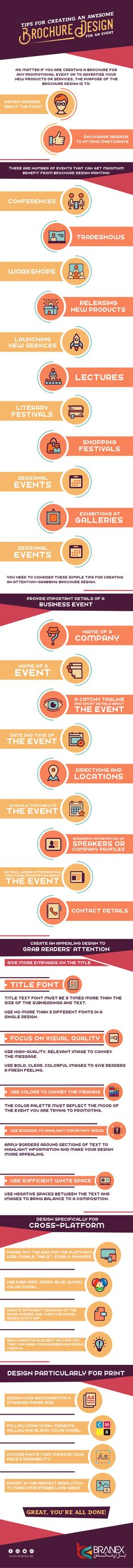 Tips for Creating an Awesome Brochure Design for any Event #Infographic #Design