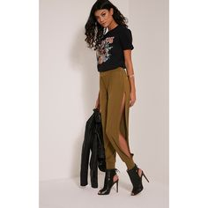 Chasity Olive Split Side Jersey Trousers-4 ($16) ❤ liked on Polyvore featuring pants, green, high waisted wide leg pants, green pants, olive green pants, cropped pants and high-waisted trousers