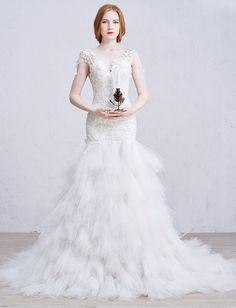 Romantic V Neck Low Back Embellished Lace Ruffled White Tulle Skirt Mermaid Wedding Dress Wedding Dresses For Sale, Cheap Wedding Dress, White Tulle Skirt, Lace Ruffle, Mermaid Wedding, Romantic, V Neck, Skirts, Fashion