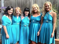 We had a fabulous day styling our stunning bridal party for a wedding today wearing the Goddess By Nature signature cocktail dress in Aqua Baby the bridesmaids look amazing x www.goddessbynature.com #aquababay #bridalgown #bridalparty #goddessbynature #cocktaildress #1dress50ways #multifunctionaldress