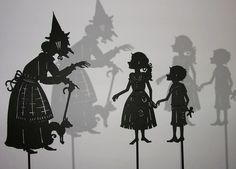 Unique laser cut shadow puppets based upon the wonderful story, 'Hansel and Gretel', written by Grimm. (Silhouette Design by Isabella)