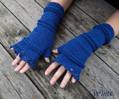 Knitted fingerless gloves blue wool knit gloves arm by OnGoodLuck