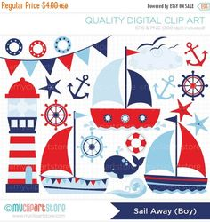 30% OFF Clipart Sailing / Sail Away Boy by MyClipArtStore