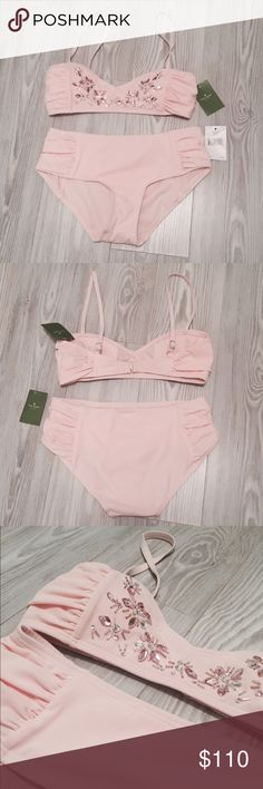 KATE SPADE Pale Pink Bathing Suit An adorable bathing suit with demure embellishments from Kate Spade that is new, has never been used and comes with its tags! kate spade Swim