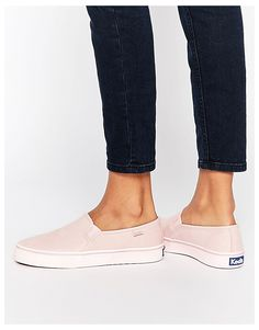 Image 1 of Keds Double Decker Washed Leather Pale Pink Slip On Plimsoll Trainers