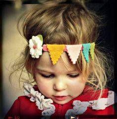Felt Flower Headband Bunting Garland Headband by giddyupandgrow