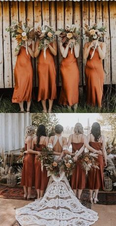 Tea Length Bridesmaid Dresses, Wedding Bridesmaids, Wedding Dresses, Burnt Orange Bridesmaid Dresses, Bride Dresses, Boho Wedding, Dream Wedding, Bridesmaid Pictures, Fall Wedding Colors