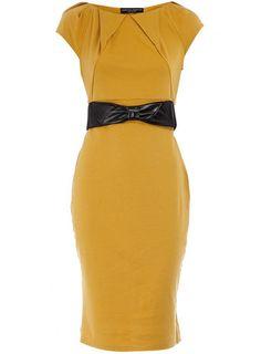 Ochre ponte pleat neck dress