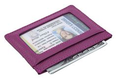 DEEZOMO RFID Blocking Genuine Leather Slim Super Thin Card Holder With ID Card Window - Purple. Made from high quality genuine leather,durable and stylish. Features 3 card slots on one side where you can put 1-2 cards into each card slot,and one type with an ID card window where you can put your IDs or driver license. RFID Blocking Wallet: Keeps your vital information Secure.BE SAFE and PROTECTED from Electronic Pick pocketing; Blocking all RFID scanners and readers. 1 Larger...