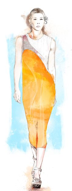 Artist: Robert Tirado ~ Various portraits of Melania Pan done for the Spanish edition of Harper´s Bazaar during 2012 to 2013 : Look by Stella McCartney