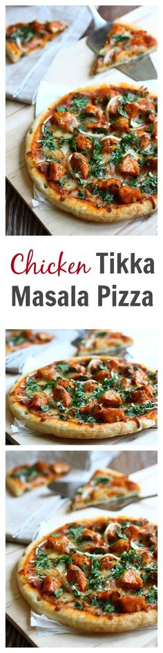 Chicken tikka masala pizza recipe - This pizza is SO good with spicy and creamy tikka masla chicken. Learn how to make it | rasamalaysia.com
