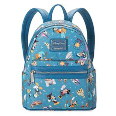Take Mickey and the gang wherever you go with this simulated leather mini backpack, direct from Disneyland. Retro pattern features stylized character art and park icons to make this a wonderfully whimsical carry-all for everyone.