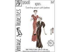 """1930's Evening gown with jacket (B38"""") PDF sewing pattern [VSV 37006]"""
