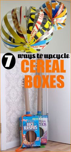 7 ways to Upcycle Cereal Boxes.  Fun ideas to get crafty with the kids or decorate your home.  Great ideas on what to do with those boxes after the cereal is all gone.