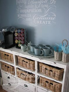 Coffee station from dresser...love this dresser