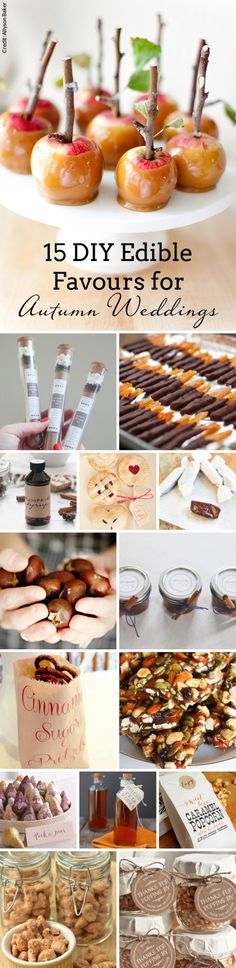 DIY Edible Fall Wedding Favours | SouthBound Bride | Find all the tutorial links here: http://www.southboundbride.com/diy-edible-autumn-wedding-favours