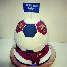 FCB Barcelona soccer ball cake www.hellocakesbyvanessa.com
