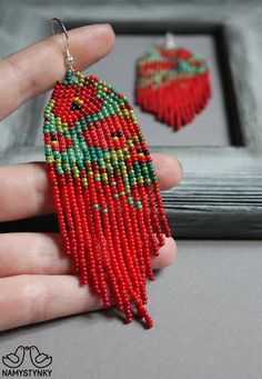 Claude Monet earrings Artistic earrings Impressionism Red Long earrings Beaded earrings Red S. Seed Bead Jewelry, Seed Bead Earrings, Diy Earrings, Chandelier Earrings, Hoop Earrings, Beaded Chandelier, Diy Jewelry, Jewelry Making, Purple Earrings