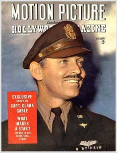 Clark Gable on Motion Picture Hollywood magazine cover. Hollywood Stars, Classic Hollywood, Old Hollywood, Hollywood Magazine, Clark Gable, Famous Veterans, William Clark, It Happened One Night, Movie Magazine