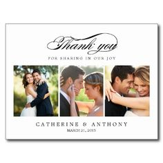 Simply Elegant Wedding Thank You Card - White Post Card.  $1.00