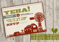 Farm Birthday Invitation. $15.00, via Etsy.
