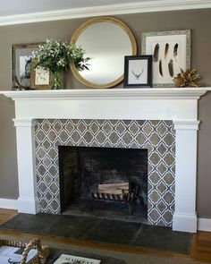 """""""I'm going to be sharing new pics of our living room fireplace remodel on the blog tomorrow but thought I'd give my IGers a little sneak peek! We took our…"""""""