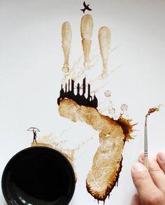 Intricate Fingerprint Coffee Paintings by Ghidaq al-Nizar - UltraLinx