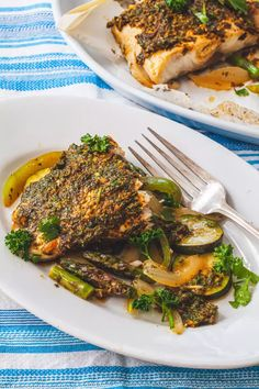 Parchment Baked Fish and Vegetables with Chermoula Recipe